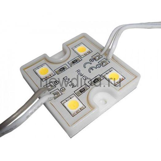 Светодиодный модуль SMD 5054/4LED 88Lm 35х35х5мм 1W 88Lm IP65 (пласт. корпус) 120° (белый холодный)