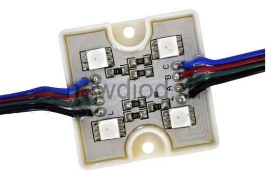 Светодиодный модуль SMD 5050/4LED 35*35*5 мм 1,2W IP65 RGB