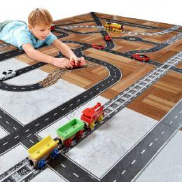 Игровой скотч с дорожной разметкой Умная железная дорога