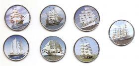 Парусники Набор монет 1 шиллинг Сомали 2015 (7 монет)