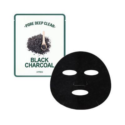 Маска для лица тканевая с древесным углем для сужения пор  A'PIEU Pore Deep Clear Black Charcoal Mask 25гр
