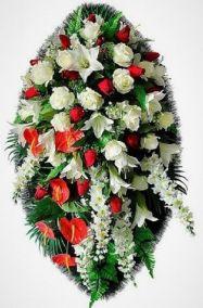 Ритуальный венок из искусственных цветов - Элит #34 из роз, лилий и зелени