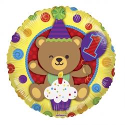 1 годик с медвежонком фольгированный шар с гелием