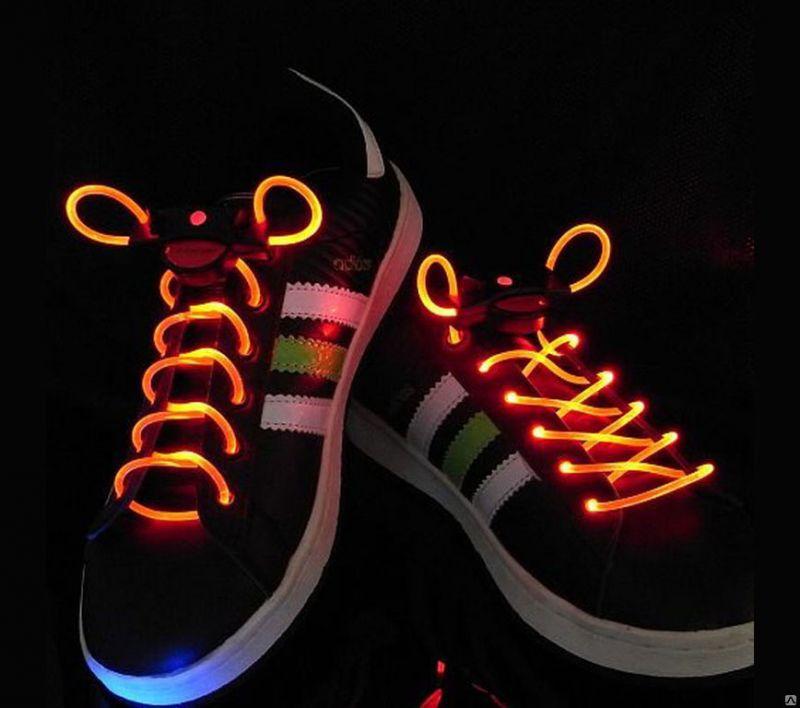 Шнурки с LED подсветкой, цвет оранжевый