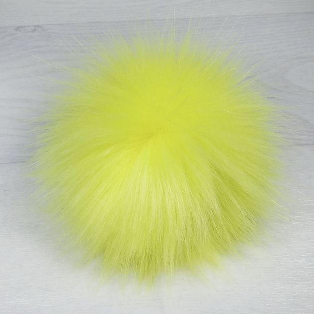 пом1000-39 Помпон из искуственного меха неоново-лимонный