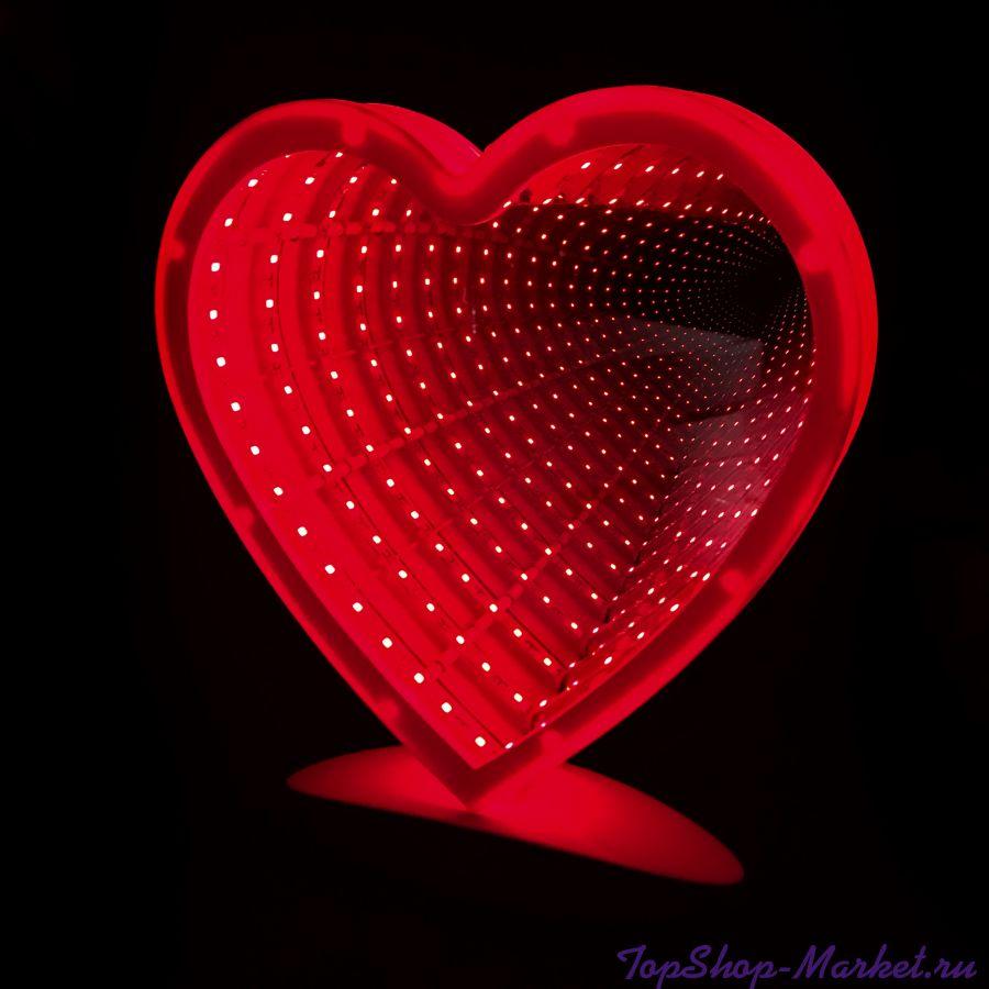 Зеркальный ночник с эффектом бесконечности, Сердце