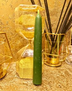 Свеча восковая натуральная зеленая , 15 х 1.9 см