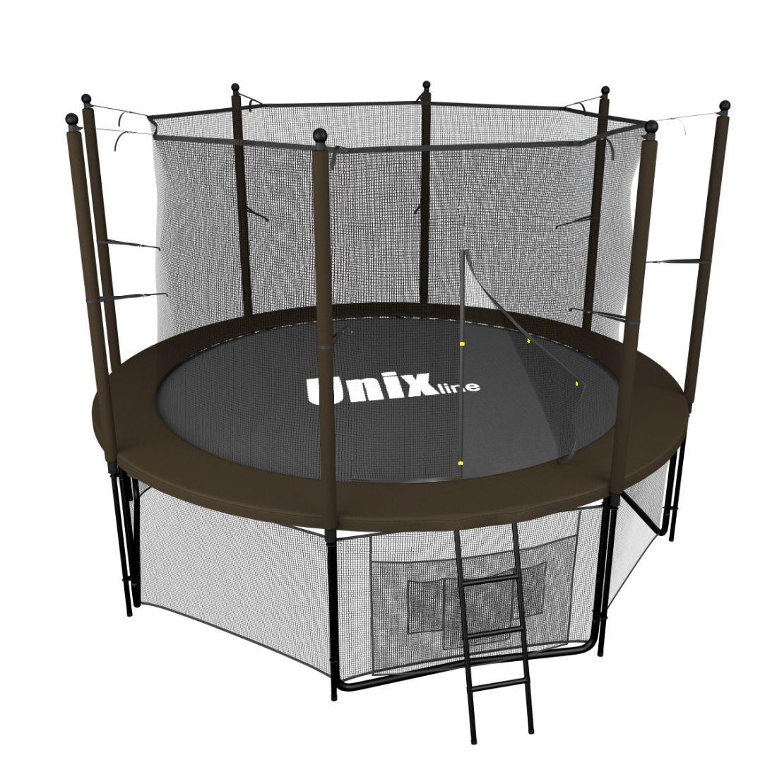 Батут UNIX line 8 ft (2.44 м, до 150 кг) Black&Brown (inside)