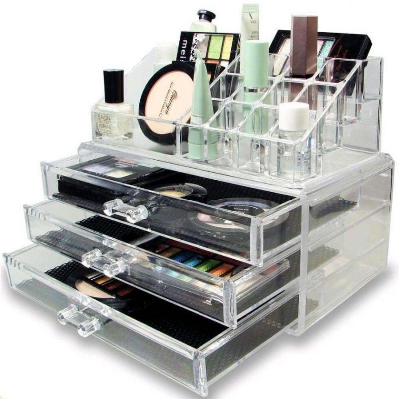 Акриловый Органайзер Для Косметики Cosmetic Storage Box, 3 Ящичка
