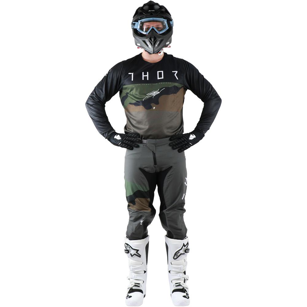 Thor - 2019 Prime Pro Fighter Charcoal/Camo комплект джерси и штаны, серый камуфляж