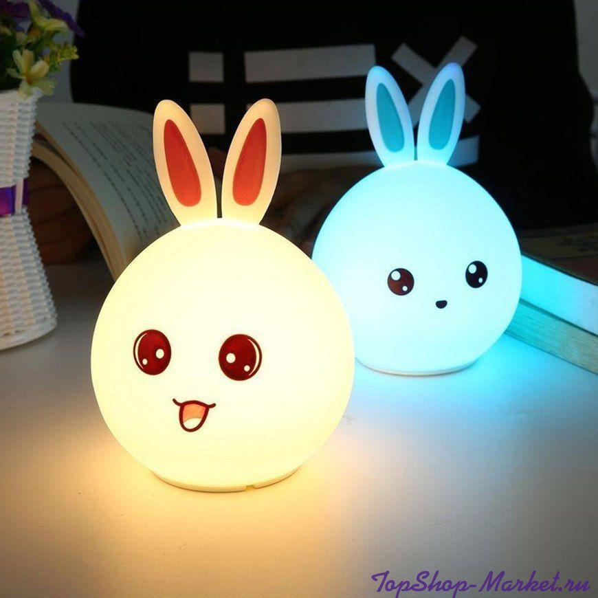 Мягкий силиконовый ночник Colorful Silicone Lamp, Розовый Зайчик