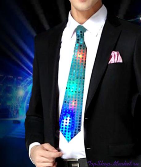 Светящийся карнавальный галстук, Цвет: Серый
