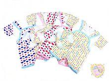 """Костюм для новорожденных: песочник, футболка, берет (супрем сердечко, горошек) """"Мамин Малыш"""" код 01256"""