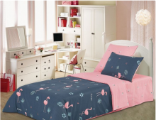 Постельное белья Сатин Розовый фламинго 1.5-спальный Арт.1445