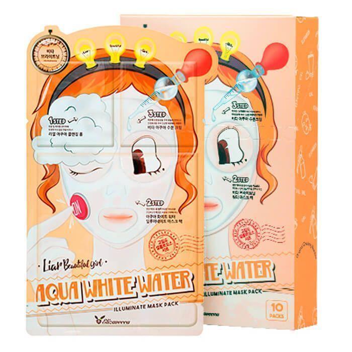 [Elizavecca] Маска д/лица трехэтапная УВЛАЖНЯЮЩАЯ 3-step Aqua White Water Illuminate Mask Sheet