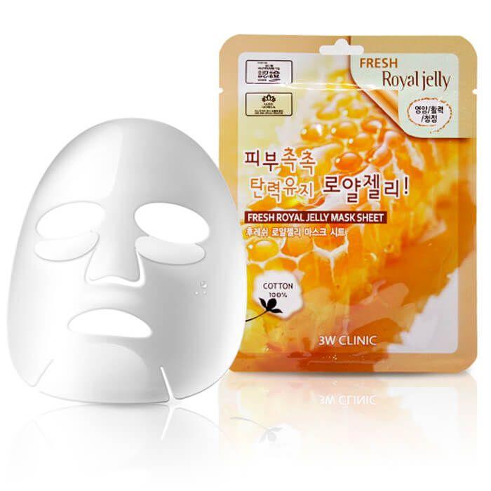 "[3W CLINIC] Тканевая маска для лица МАТОЧНОЕ МОЛОЧКО ""Fresh Royal Jelly Mask Sheet"""