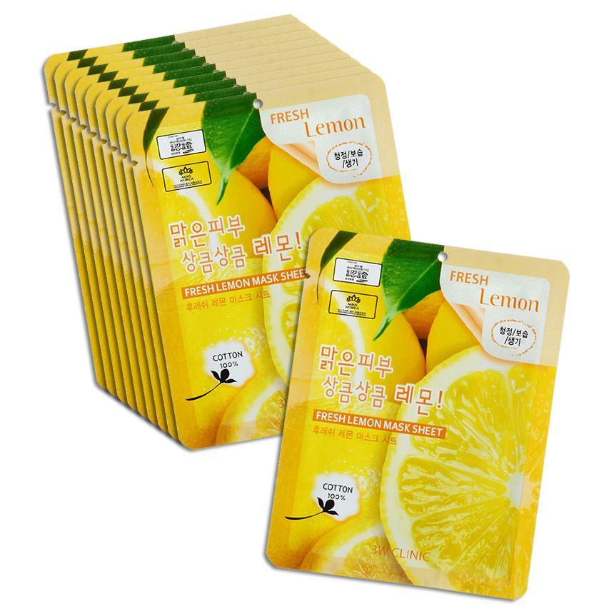 3W CLINIC набор Тканевых масок для лица ЛИМОН Fresh Lemon Mask Sheet, 10 шт