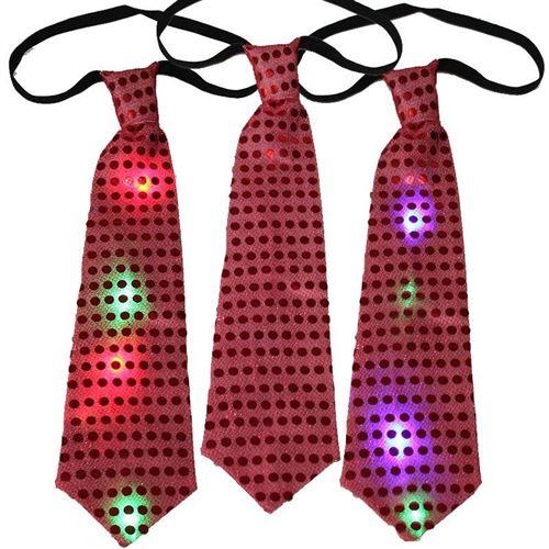 Светящийся карнавальный галстук, красный