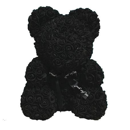 Мишка из роз 40 см Черный