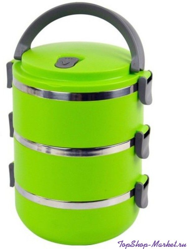 Термо ланч-бокс из нержавеющей стали, 2,1 л, Цвет: Зелёный