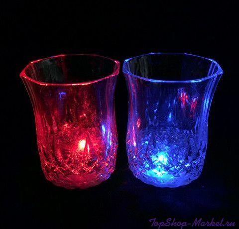 Мерцающая рюмка Light-up Liquid Activated Glass, 70 мл, 6 шт