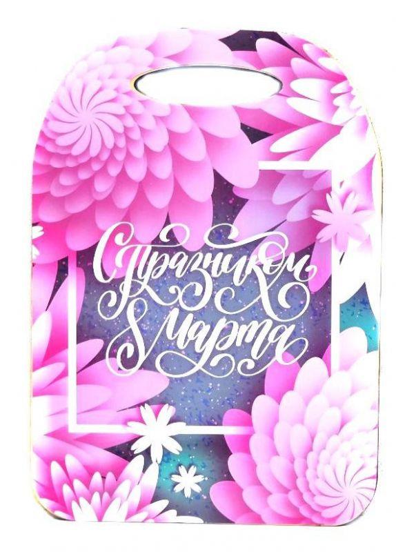 Сувенирная Разделочная Доска 8 Марта, Розовые Цветы