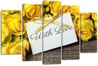 Модульная картина Желтые розы с любовью