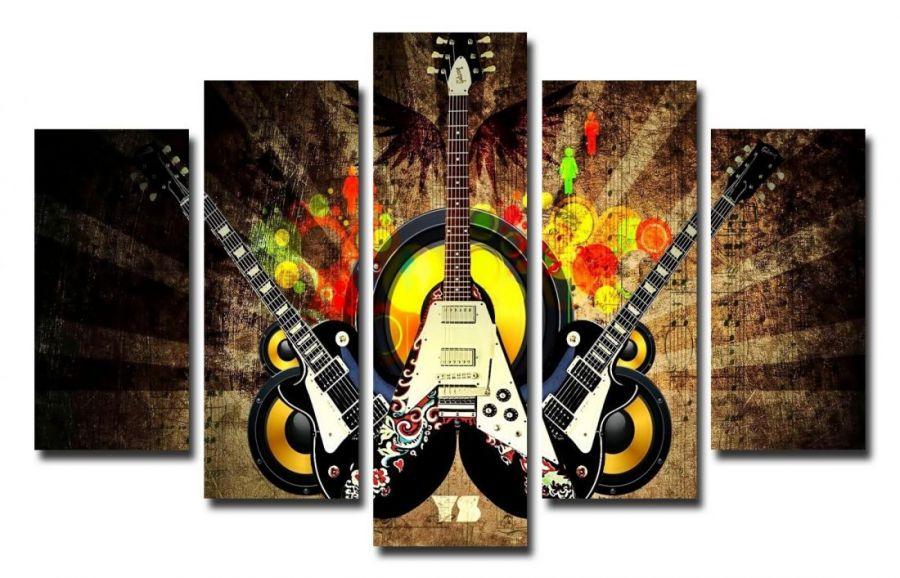 Модульная картина Яркие гитары