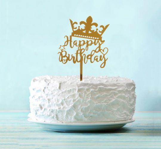 Топпер с короной Happy Birthday акриловый золотой