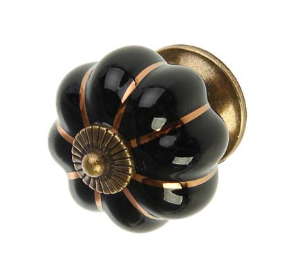 Ручка кнопка керамическая, Черная, 4 см