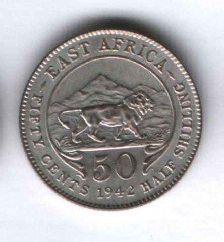 50 центов 1942 года Восточная Африка, UNC