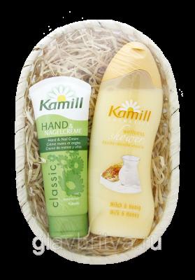 Подарочный набор Kamill (гель-душ Classic 200мл + крем для рук Classic 100мл) в корзинке
