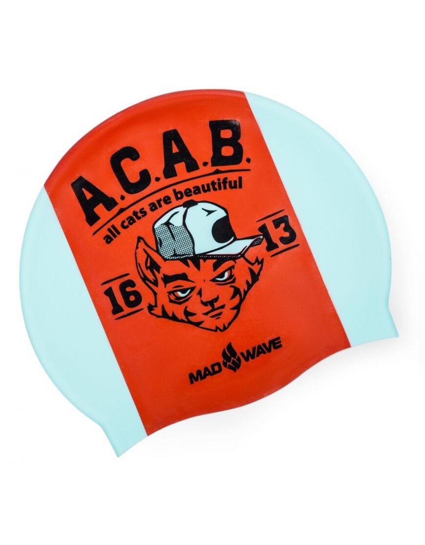 Шапочка для плавания силиконовая Mad Wave A.C.A.B.