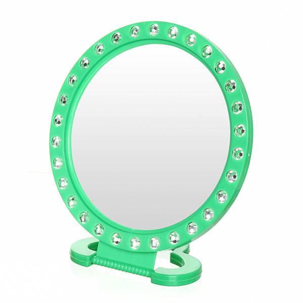 Круглое подвесное/настольное зеркало со стразами, 18.5 см, Цвет: Зеленый