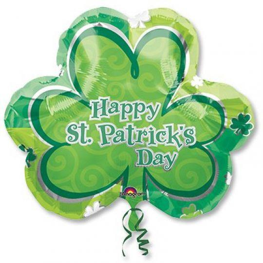 Четырехлистный клевер С Днем Святого Патрика! фольгированный шар с гелием