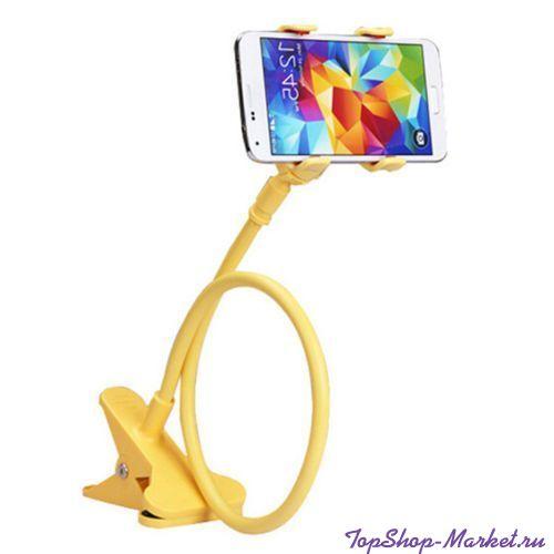 Гибкий держатель-прищепка для телефонов и мини планшетов, Цвет: Жёлтый