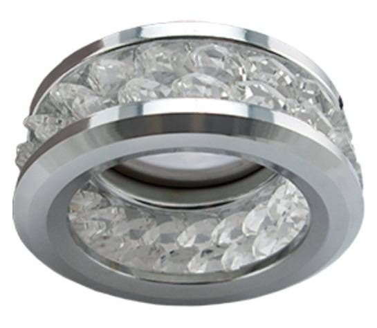Светильник встраиваемый Ecola DL1656 MR16 GU5.3 с хрусталиками 2 ряда Прозрачный Хром 54x85 FC1656EFF