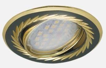 Светильник встраиваемый Ecola KL6A MR16 GU5.3 литой поворот.гравир.Листья по кругу.Черн. Хром/Зол.23x86 FB1616EFY