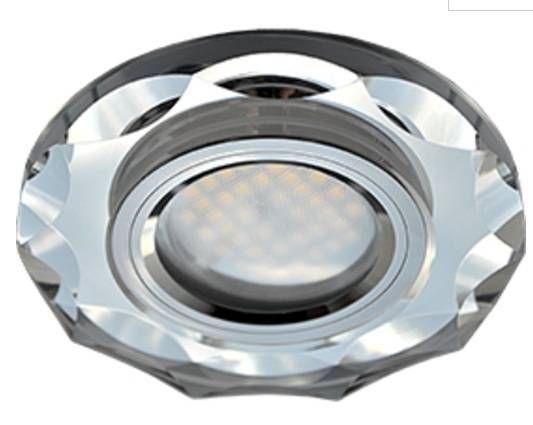 Светильник встраиваемый Ecola DL1653 MR16 GU5.3 стекло с вогнутыми гранями Хром/Хром 25x90 FC1653EFF