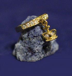 """Позолоченное кольцо с подвеской """"Корона"""" (арт. 880168)"""