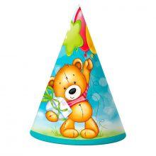 """Колпаки """"С Днём рождения"""" Милый мишка, 6 шт/ уп"""
