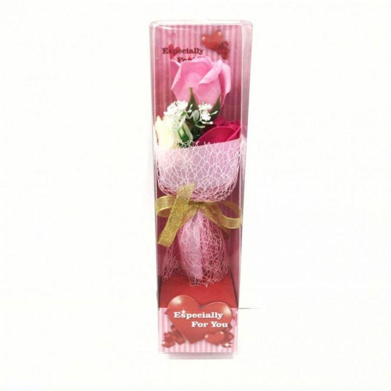 Подарочное мыло букет роз в пластиковой упаковке Especially for You, 28 см, цвет светло-розовый