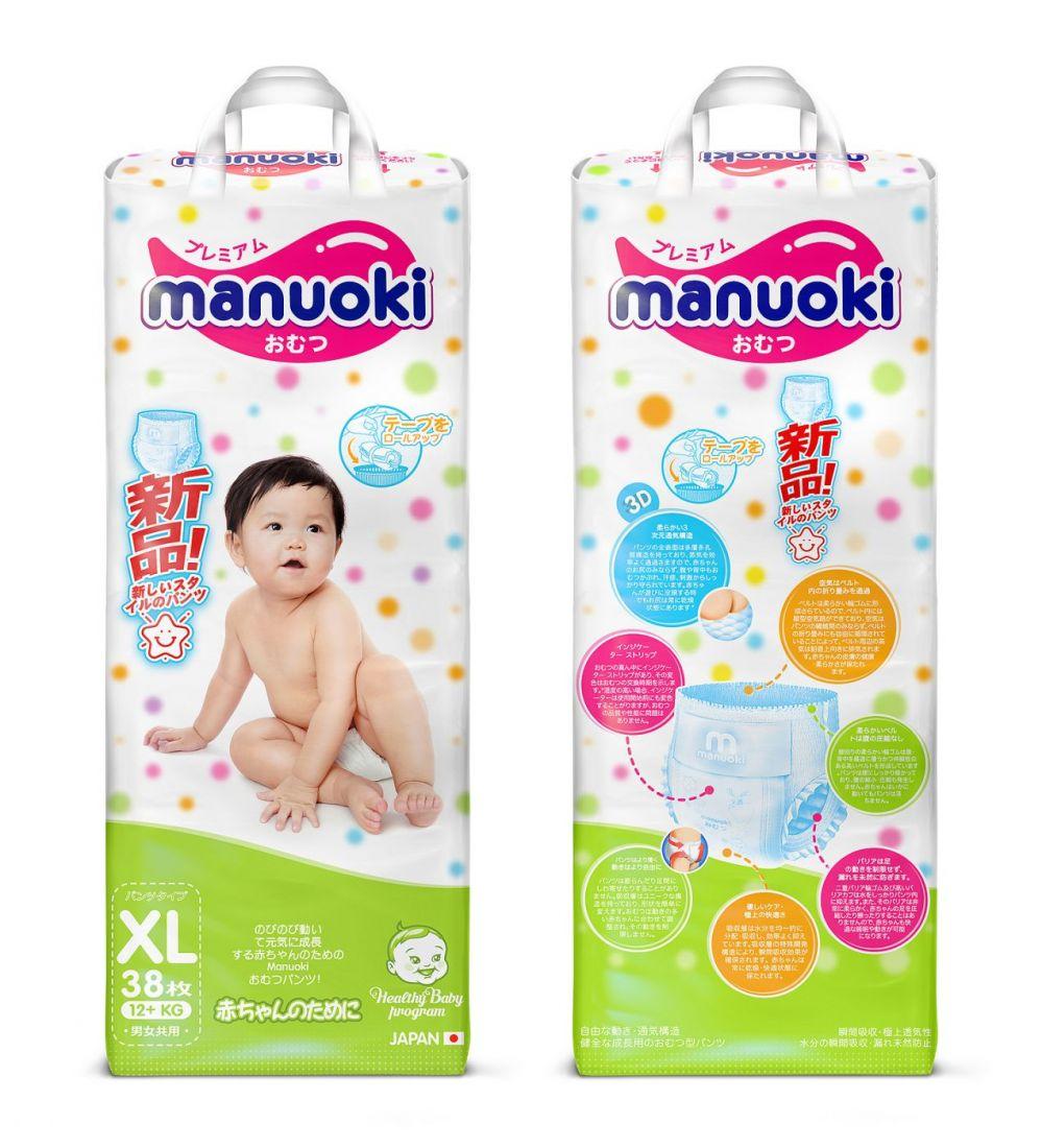 Manuoki Подгузники-трусики XL 12+кг, 38 шт