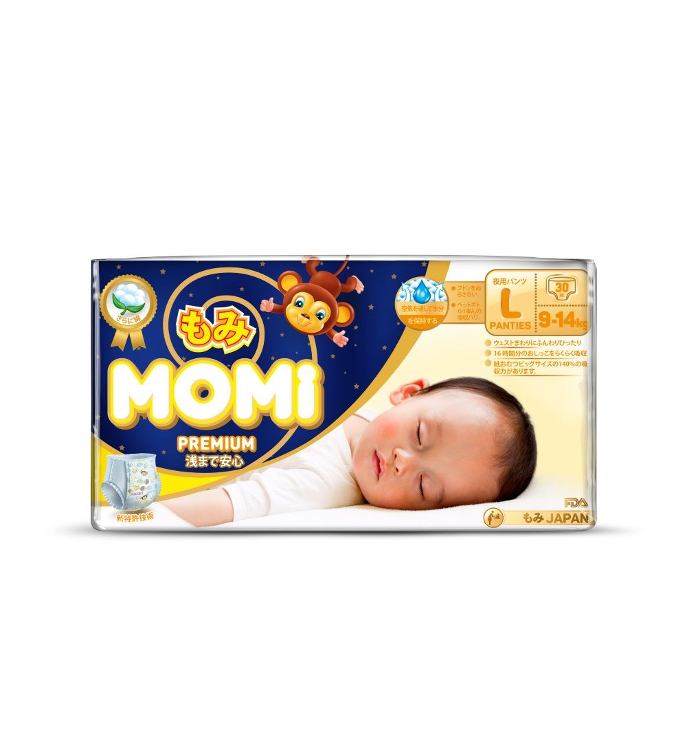 Momi Premium Night Трусики-подгузники , 30 шт, 9-14 кг