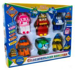 Команда из 6-ти трансформеров Робокар поли (Рой, Поли, Эмбер, Хэлли, Марк, Баки)