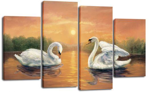 Модульная картина Лебеди на пруду