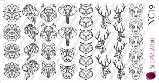 Слайдер дизайн NC19 - Геометрия, Животные, Трафарет, черный