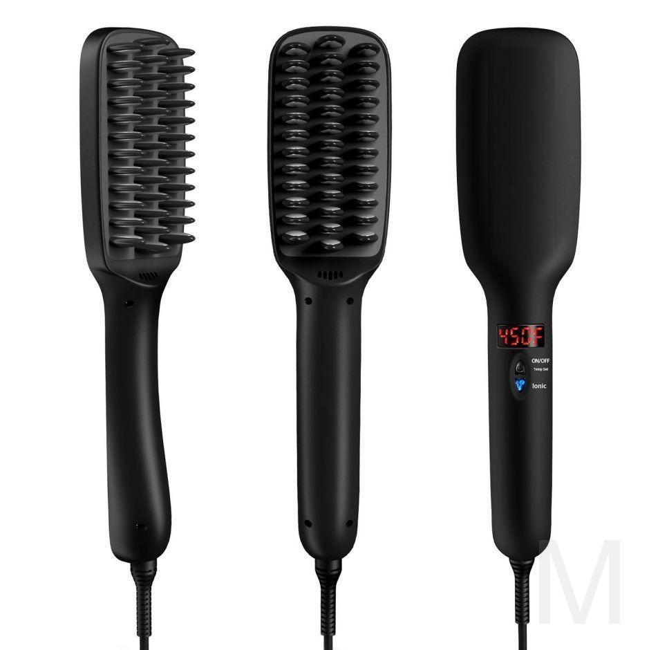 Расческа выпрямитель для волос PTC HEATING 2 В 1 Черная
