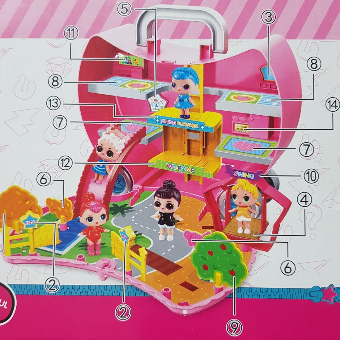 """Кукольный домик чемоданчик-рюкзак ЛОЛ """"Прогулка"""" + 2 куклы"""