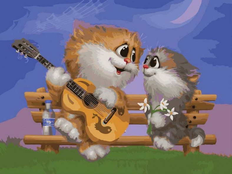 """Песни под гитару"" живопись на холсте 30*40см"
